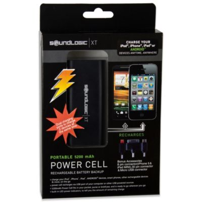 SoundLogic Power Cell 5200 mAh Rechargeable Portable Power Bank in Black