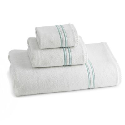 Baratta Hand Towel in Collection in White and Sea Foam