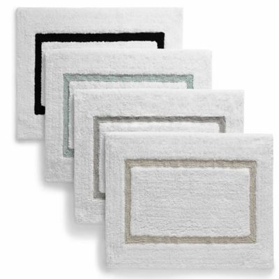 Kassatex Baratta Turkish Cotton Bath Rug in White/Sea Foam
