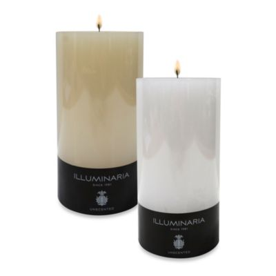 Illuminaria 4-Inch x 4-Inch Solid Smooth Pillar Candle in Ivory