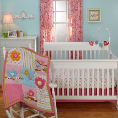 Pink Crib Skirt and Sheets