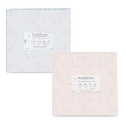 Swaddle Designs Ultimate Receiving Blanket with Sterling Deco Elephant Print in Pastel Blue