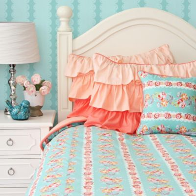 Caden Lane® Lovely Coral Lace Twin Duvet Cover