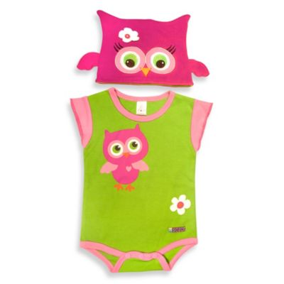 Sozo® Size 3-6M Owl Bodysuit and Cap Set in Green/Pink