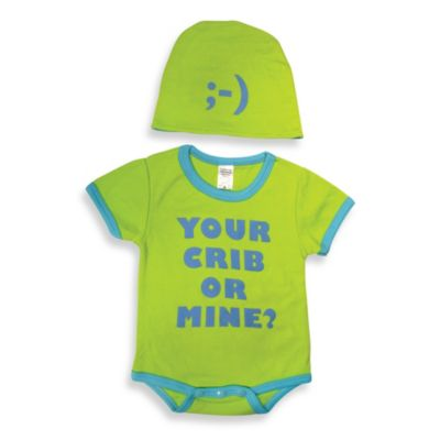 Sozo® Size 0-3M Your Crib Bodysuit and Cap Set in Green