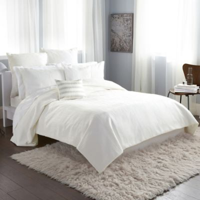 DKNY City Line Full/Queen Duvet Cover in Ivory
