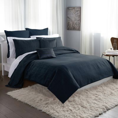 DKNY City Line Full/Queen Duvet Cover in Midnight