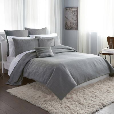 DKNY City Line Full/Queen Duvet Cover in Grey