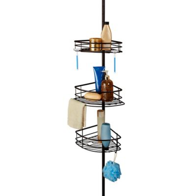 Spa Creations™ Oversized 3-Tier Pole Caddy with Shelves in Matte Bronze
