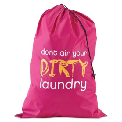 """Don't Air Your Dirty Laundry"" Novelty Laundry Bag in Pink"