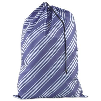 Striped Novelty Laundry Bag in Astral Blue/White
