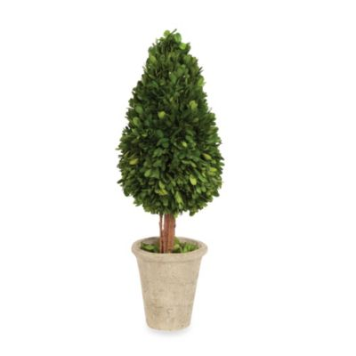 Sage Floral Water Drop Shape Boxwood Topiary