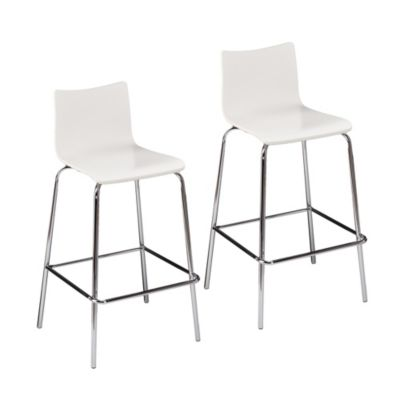 Holly & Martin Blence Barstool Set in White (Set of 2)