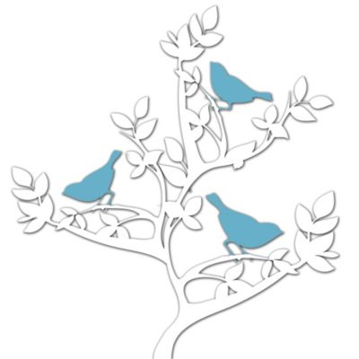 Birds on a Tree Metal Wall Art in Blue