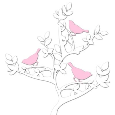 Birds on a Tree Metal Wall Art in Pink