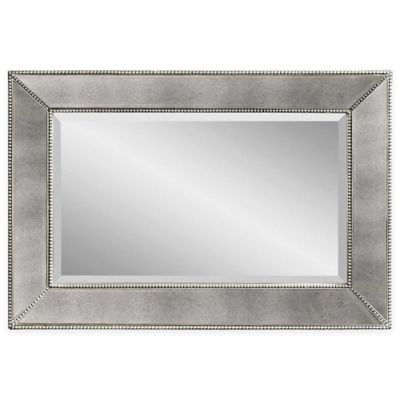Bassett Mirror Company Antique Beaded Mirror in Silver
