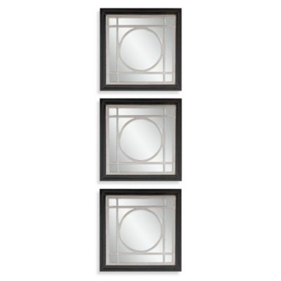 Bassett Mirror Company Gemini Mirrors in Black/Silver (Set of 3)