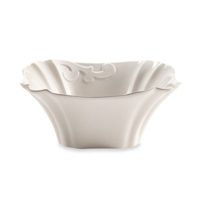 Arabesque White 10.5-Inch Square Bowl
