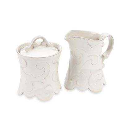 Arabesque White Creamer & Sugar Bowl