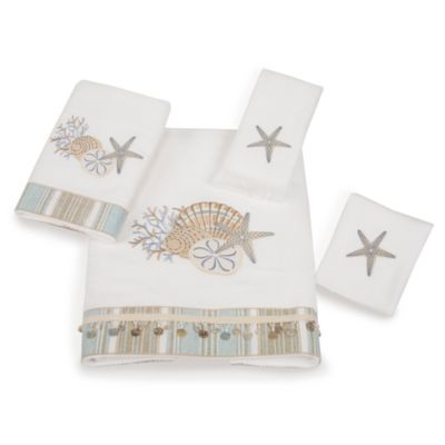 By The Sea White Washcloth