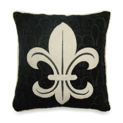 Donna Sharp Fleur de Lis Scroll Decorative Pillow in Tan