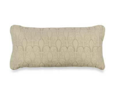 Donna Sharp Fleur de Lis Scroll Rectangular Decorative Pillow in Tan