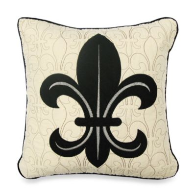 Donna Sharp Fleur de Lis Scroll Decorative Pillow in Black/Tan