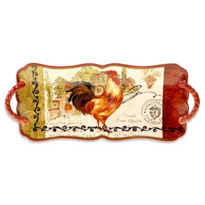 Certified International Tuscan Rooster Platter with Handles