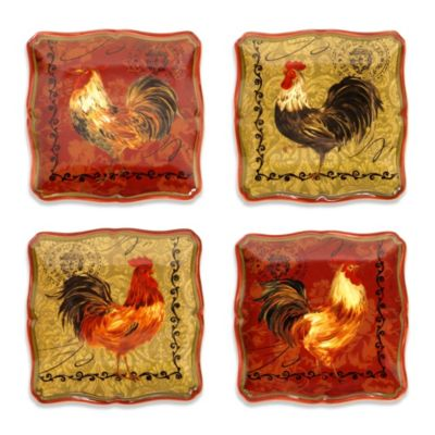 Certified International Tuscan Rooster 5.75-Inch Canape Plate (Set of 4)