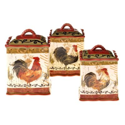 Certified International Tuscan Rooster 3-Piece Canister Set
