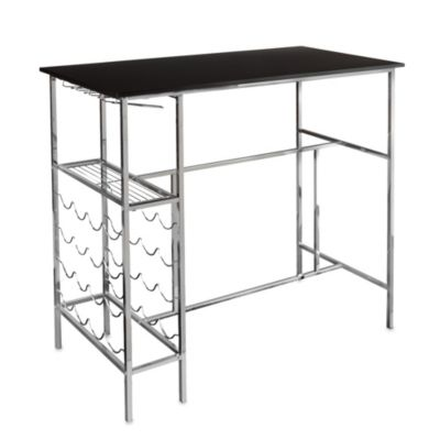 Southern Enterprises Stelly Wine Storage Pub Table in Black/Chrome
