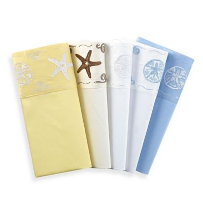 Coastal Life Coastal Standard Pillowcase in White/Light Blue (Set of 2)