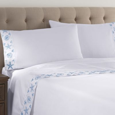 Coastal Life Coastal King Pillowcase in White/Light Blue (Set of 2)