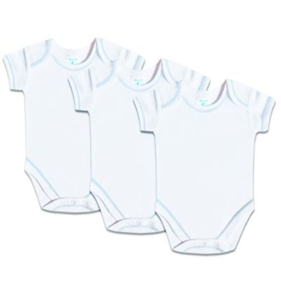 SpaSilk® Size 3M 3-Pack Short-Sleeve Bodysuit in White with Blue Stitching
