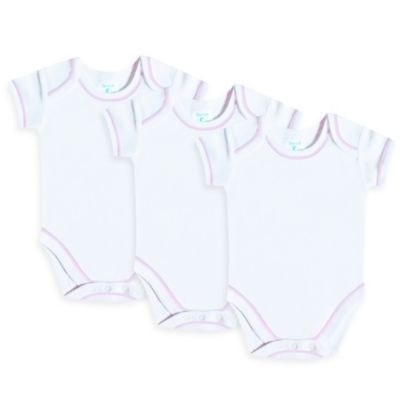 SpaSilk® Size 9M 3-Pack Short-Sleeve Bodysuit in White with Pink Stitching