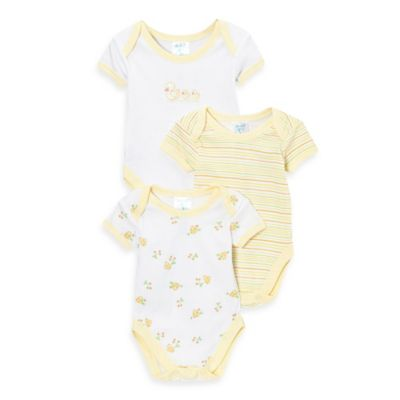SpaSilk® Size 6M 3-Pack Duck Print Bodysuits in Yellow/White