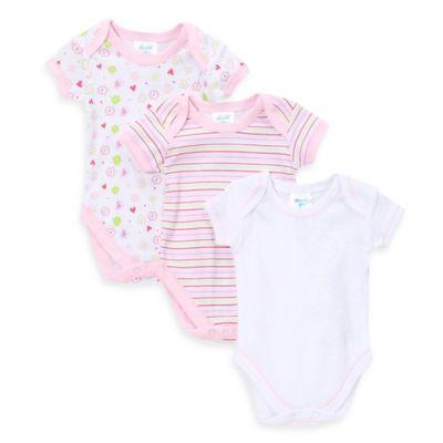SpaSilk® Size 6M 3-Pack Floral Print Bodysuit in Pink