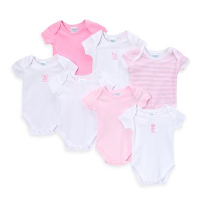 SpaSilk® Size 9M 7-Pack Assorted Prints Bodysuits in Pink