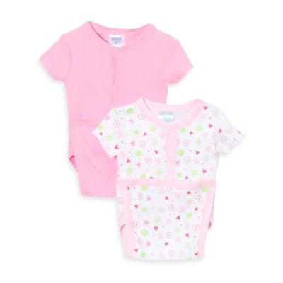 SpaSilk® Size 3M 2-Pack Flower Print Wrap Bodysuits in Pink