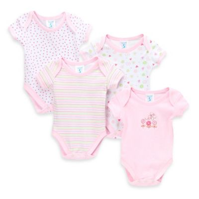SpaSilk® Size 3M 4-Pack Flower Print Bodysuit Set in Pink