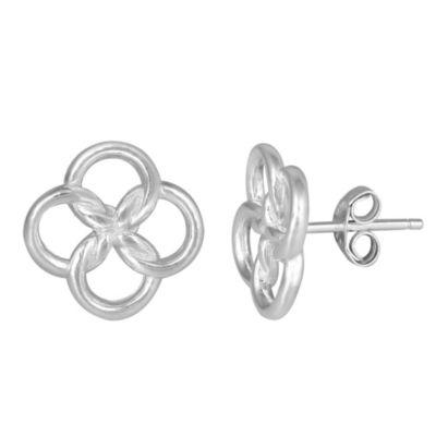 Sterling Silver 4-Petal Open Flower Stud Earrings