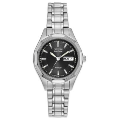 Citizen Ladies Eco-Drive Silvertone Stainless Steel Sport Bracelet Watch with Black Dial