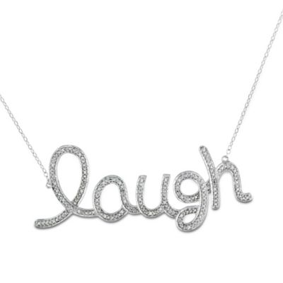 "Sterling Silver 1/10 cttw Diamond ""Laugh"" Necklace"