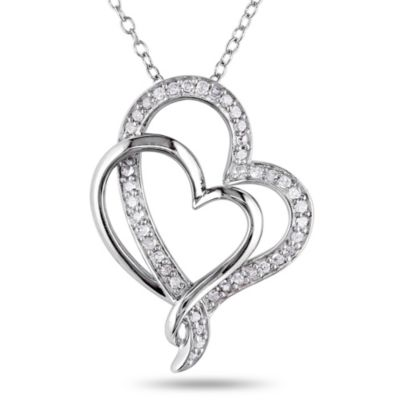 Sterling Silver 1/4 cttw Diamond Hugging Hearts Pendant