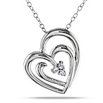 Sterling Silver .05 cttw Diamond Suspended Heart Pendant