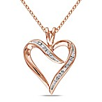 Pink-Colored Sterling Silver .05 cttw Channel Set Open Heart Pendant