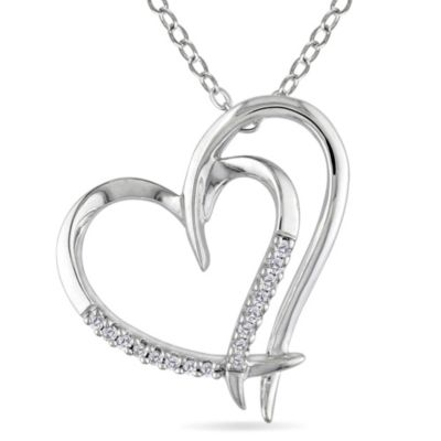 Sterling Silver .05 cttw Diamond Layered Heart Pendant