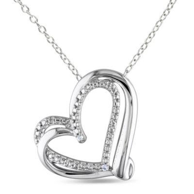 Sterling Silver .01 cttw Open Heart Pendant