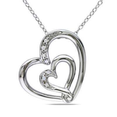 Sterling Silver .04 cttw Diamond Double Heart Pendant