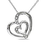 Sterling Silver .04 cttw Diamond Double Heart Pendant